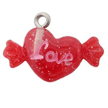 "Acrylic Red & Glitter Sweet Heart Charm  ""Love"" 22x 12mm"